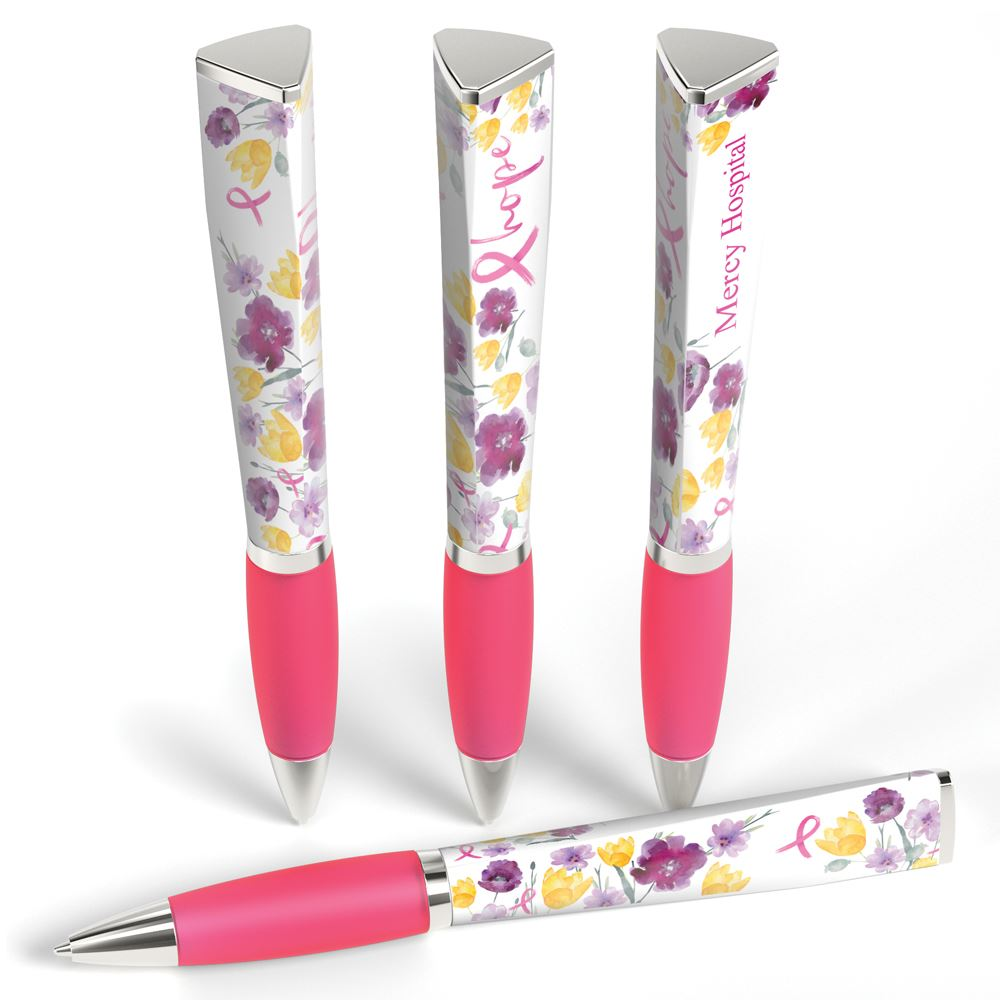 Hope Floral 3-Sided Breast Cancer Awareness Pen with Personalization