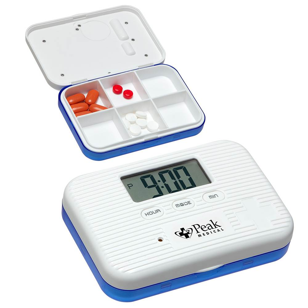 Deluxe Easy-Carry 6 Compartment Pill Box With Alarm Clock - Personalization Available