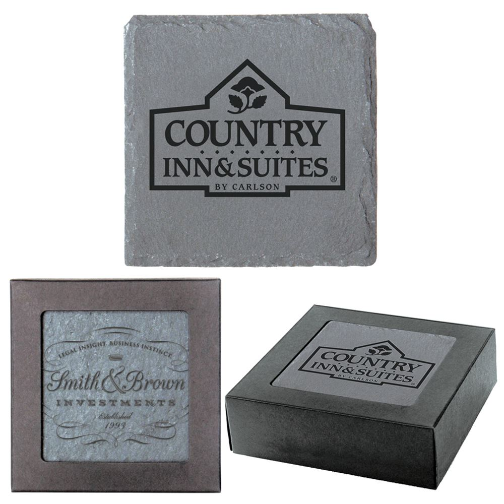 Square Slate Coasters 1-Piece Set - Personalization Available