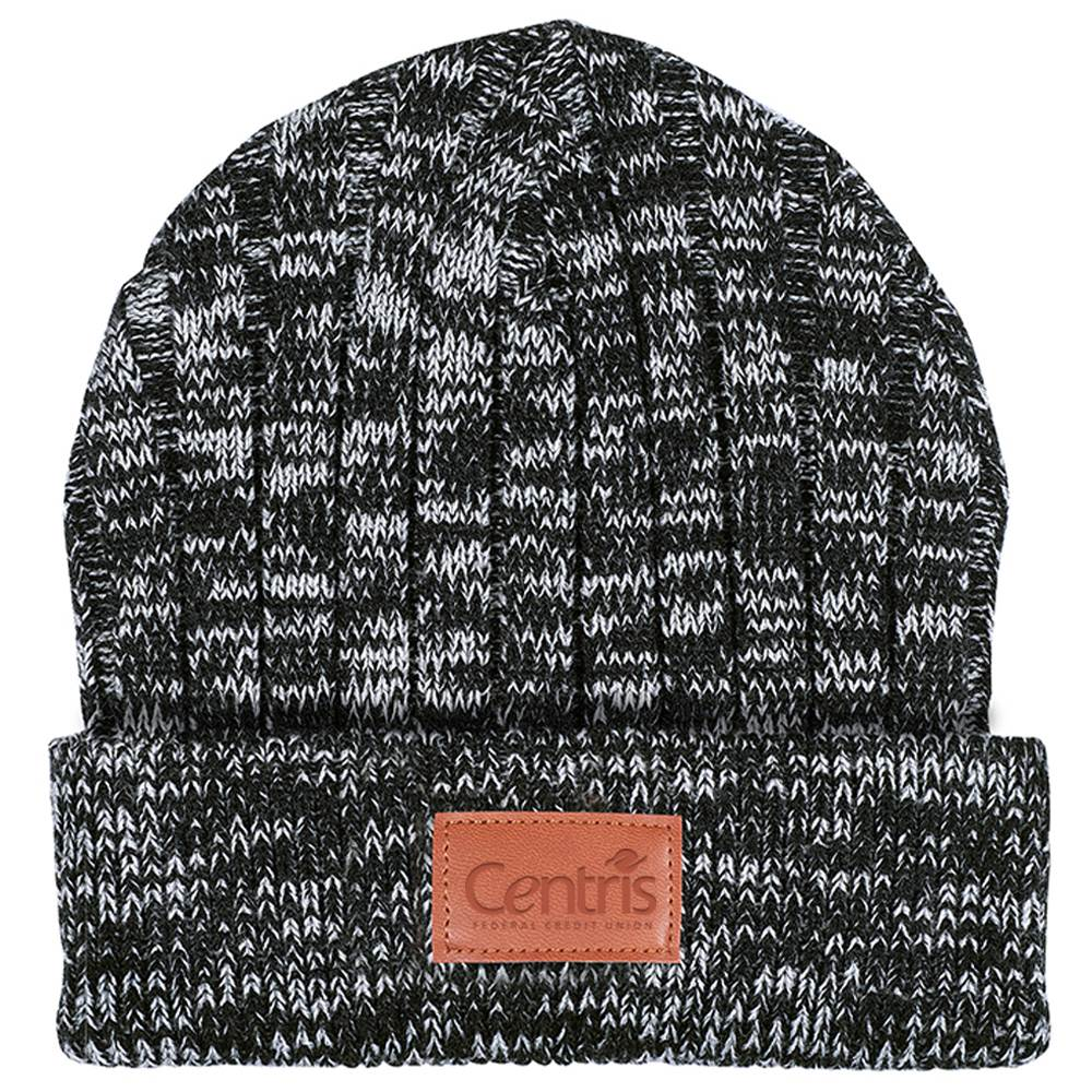Leeman™ Heathered Knit Cuffed Rib Beanie - Personalization Available