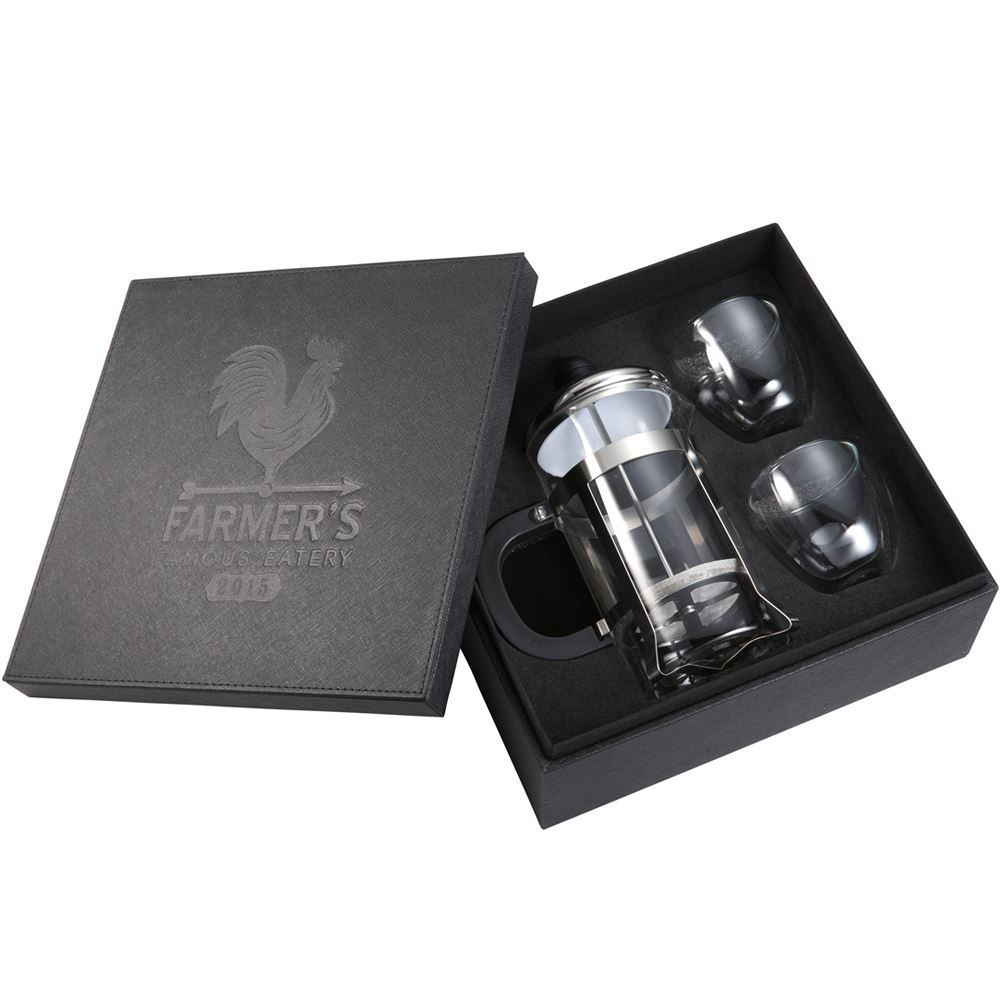 Modena Coffee Press and Glasses Gift Set - Personalization Available