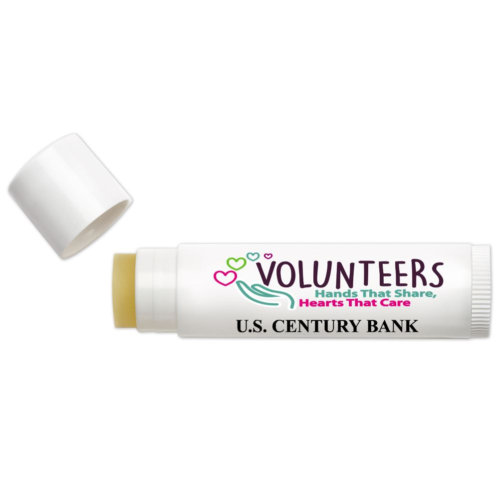 Volunteers: Hands That Share, Hearts That Care Themed Lip Balm - Full Color Personalization Available