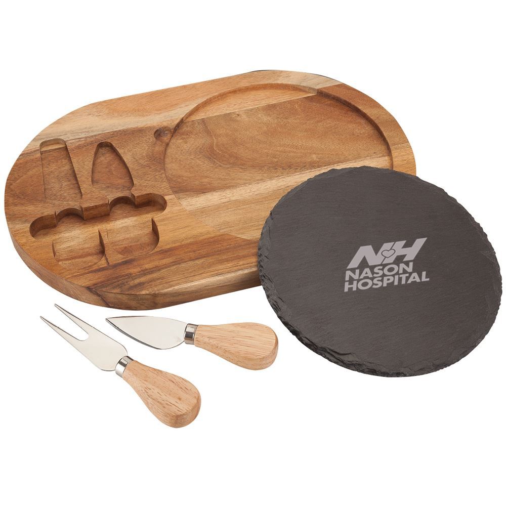 Bon Appetit Slate Cheese 4-Piece Set - Personalization Available