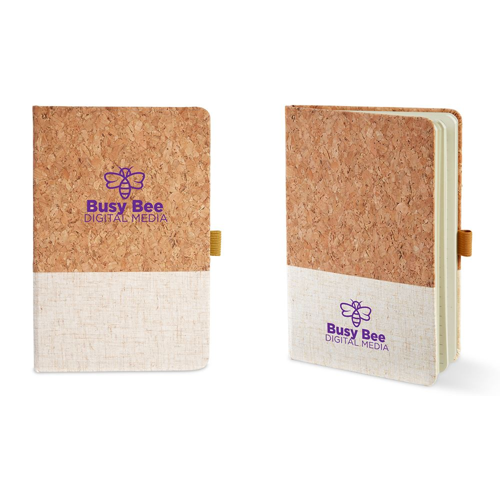 Hard Cover Cork & Heathered Fabric Journal 5 x 7 - Personalization Available