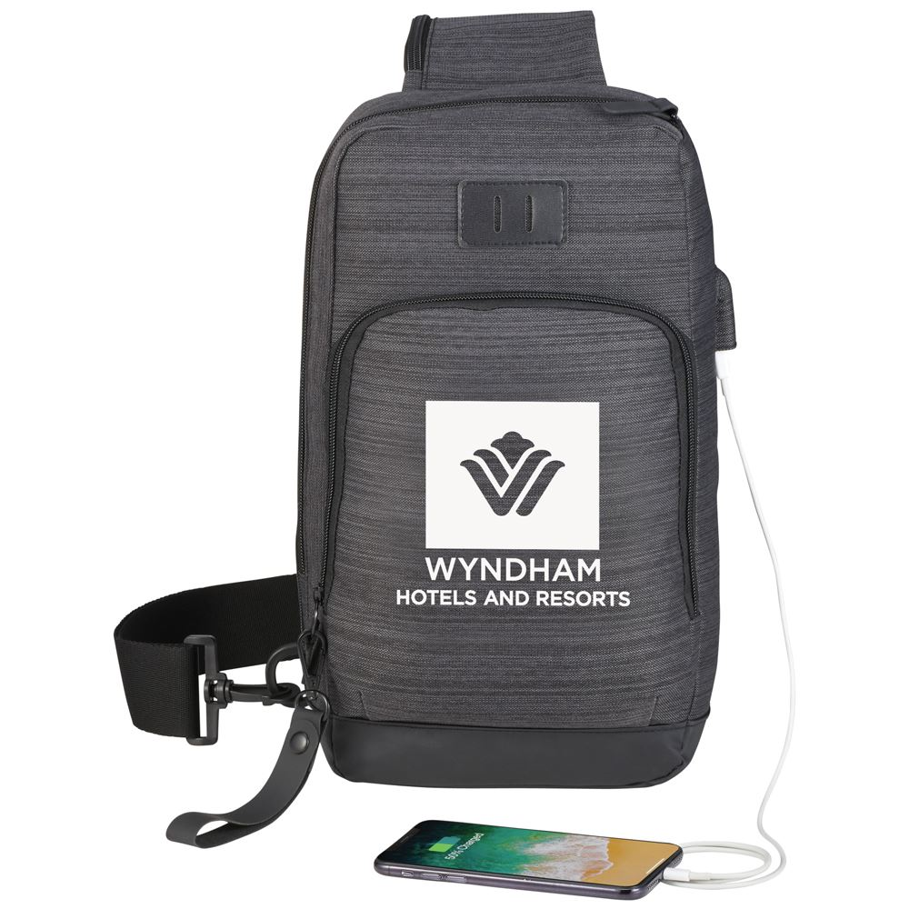 Retro Sling Bag With USB Port - Personalization Available
