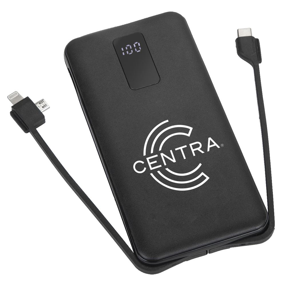 Rapid 3-In-1 Fast Charging 10000 mAh Power Bank With Built In Cables - Personalization Available