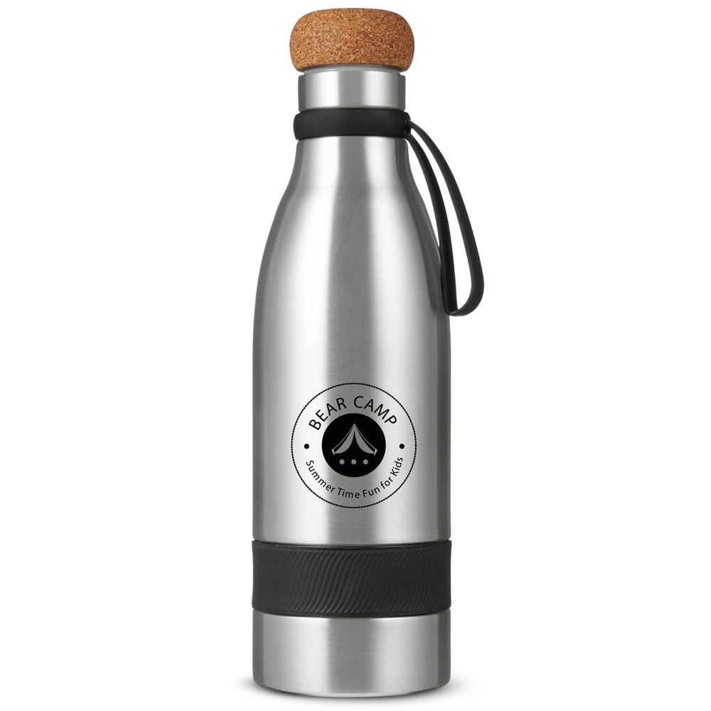 Double-Wall Vacuum Bottle With Cork Lid & Strap 19-Oz.