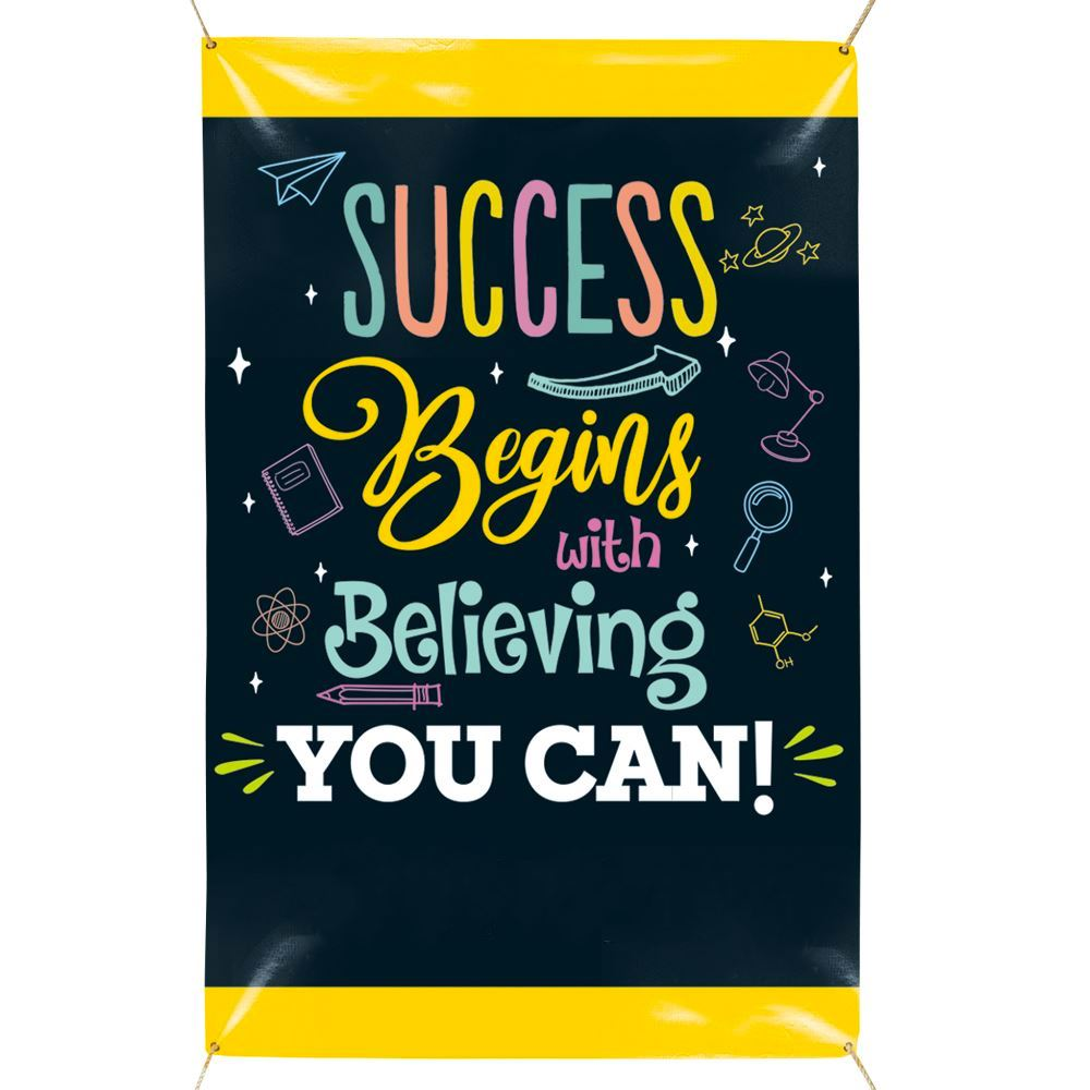 Success Begins With Believing You Can 5' x 3' Vinyl Banner - Personalization Available