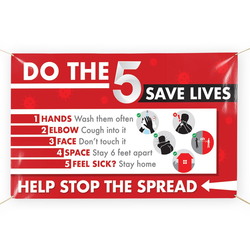 Do The Five-Save Lives! 5' x 3' Vinyl Banner