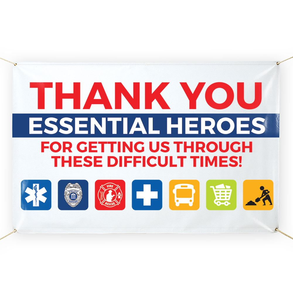 Thank You Essential Heroes 5' x 3' Vinyl Banner