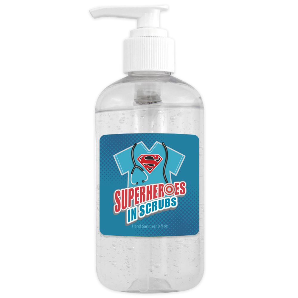 8 Oz. Sanitizer Gel Pump - Superheroes In Scrubs