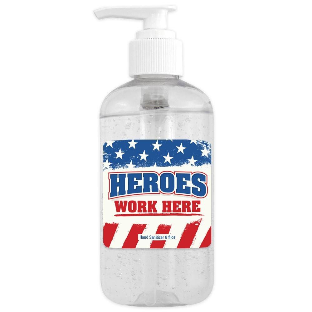 8 Oz. Sanitizer Gel Pump - Heroes Work Here