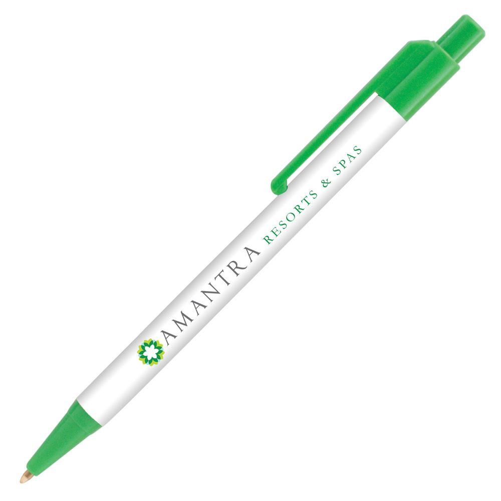 Colorama Click Action Pen with Antimicrobial Additive - Individually Wrapped - Full Color Personalization Available