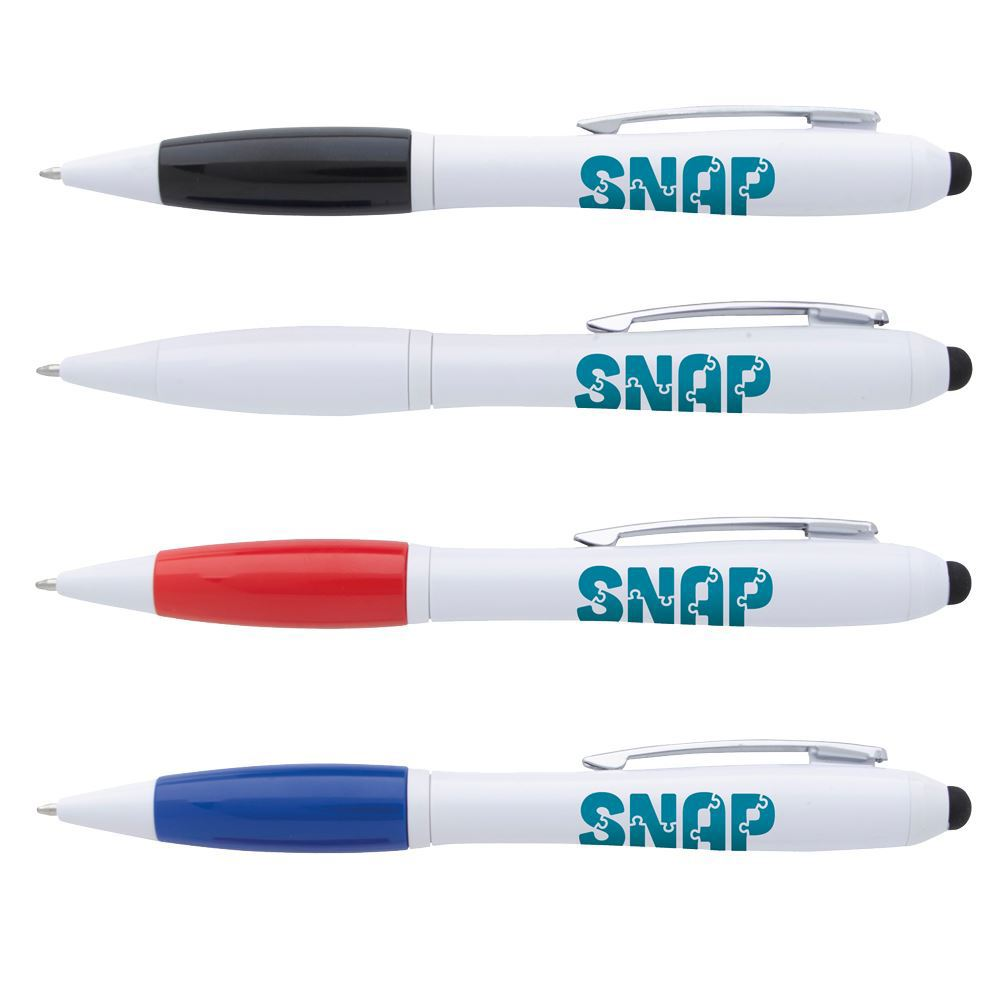 Ion White Stylus Pen with Antimicrobial Additive - Individually Wrapped - Personalization Available