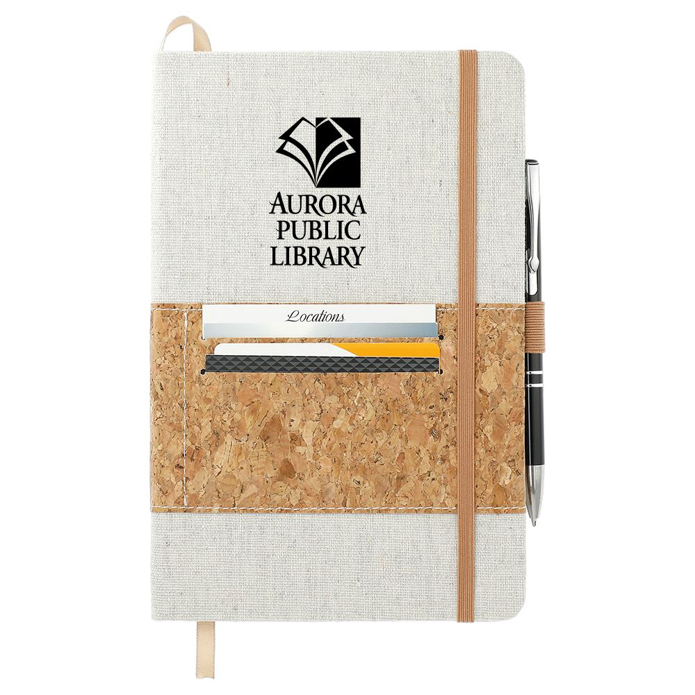 Recycled Cotton Journal With Cork Card Holder