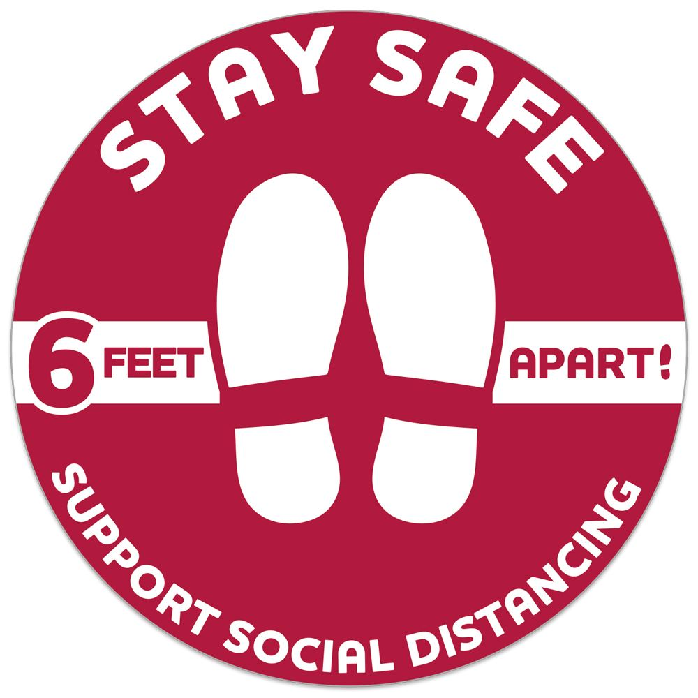 One Way Stay Safe 6 Feet Apart-Stay Safe 12
