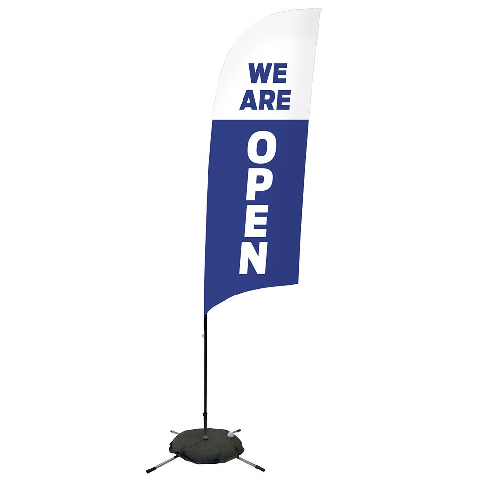 We Are Open Single-Sided 13' Streamline Razor Sail Sign Kits