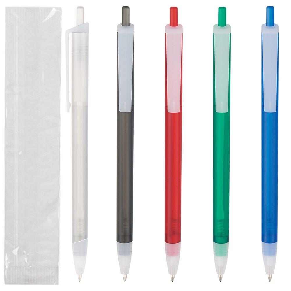 Slim Click Pen - Colored Barrel - Single Use - Individually Wrapped