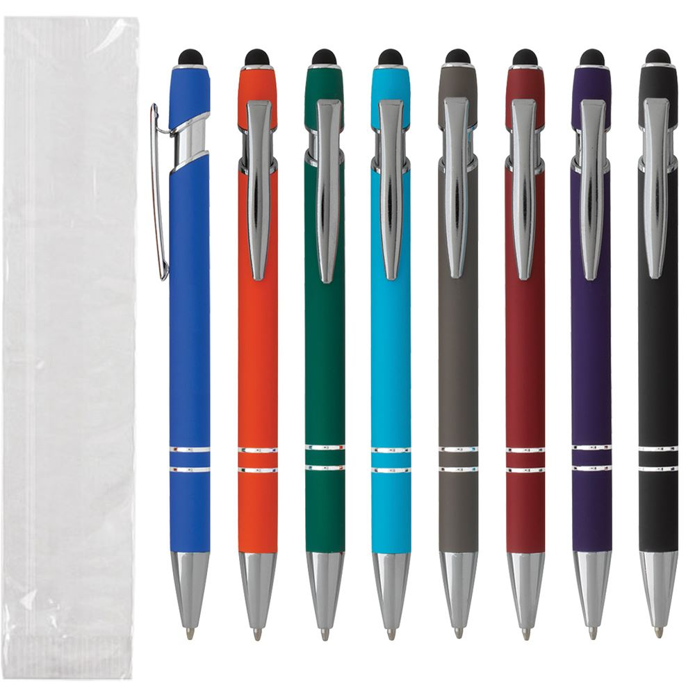 Coronado Soft-Touch Stylus Metal Pen - Single Use - Individually Wrapped