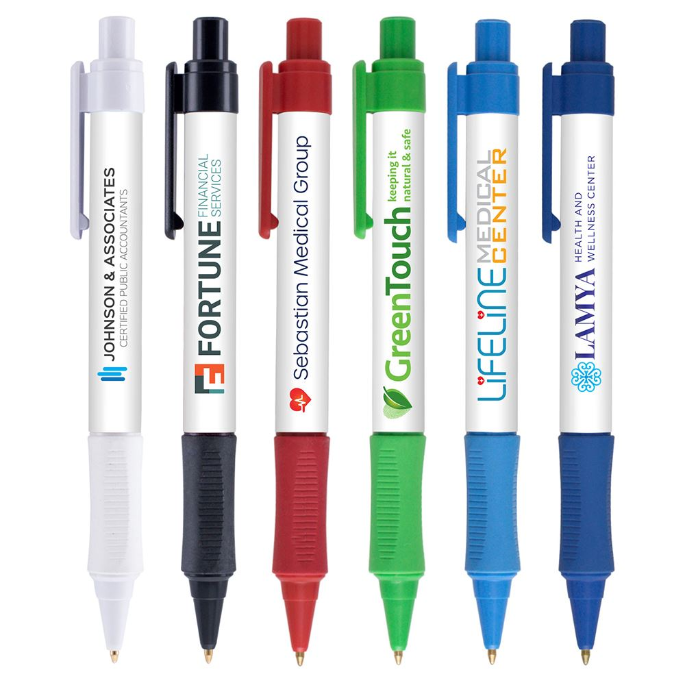 Grip Write Pen with Antimicrobial Additive  - Full Color Personalization Available