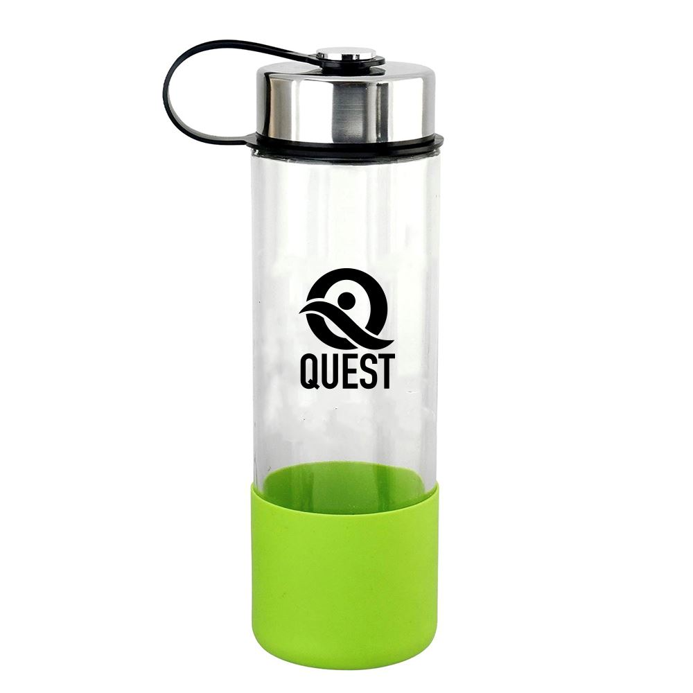 Metal Lanyard Lid 22 Oz. Glass Grip Bottle - Personalization Available