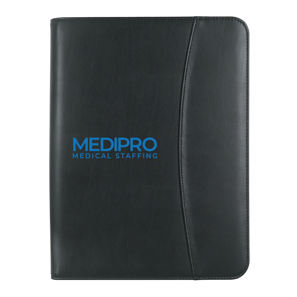 Leather Look Zippered Portfolio With Calculator-Add your personalization