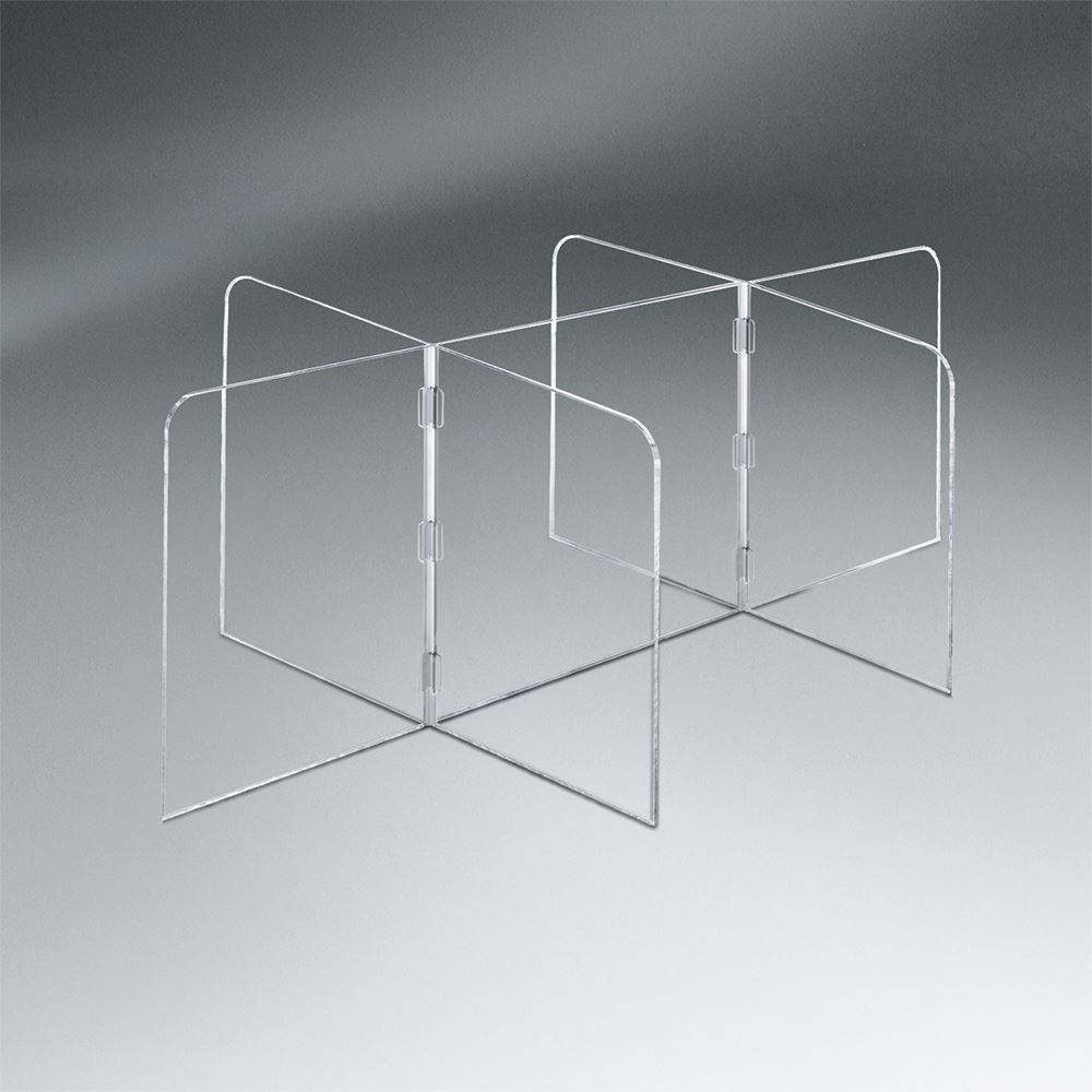 Large Interlock 7 Panel Tabletop Distancing Partition - 1/4