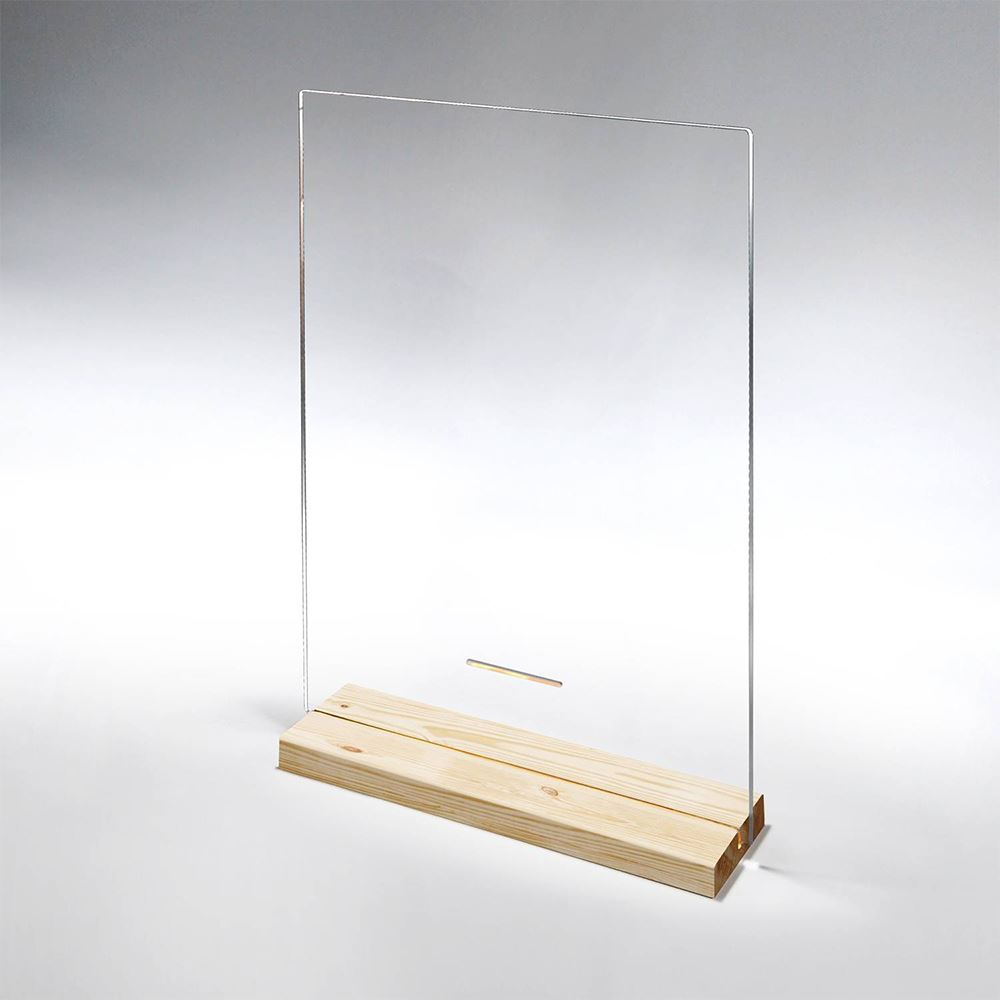 Clear Acrylic Table Top Distancing Barrier With Wood Base - 1/8