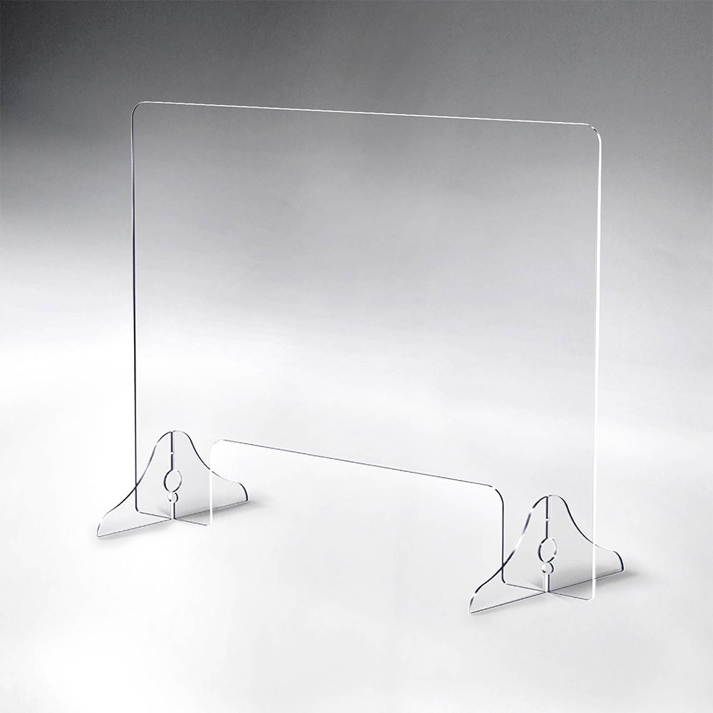 Horizontal Acrylic Tabletop Distancing Barrier With Pass-Through and Acrylic Legs