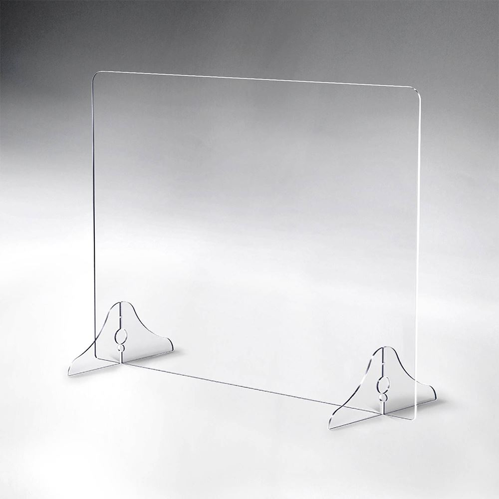 Horizontal Acrylic Tabletop Distancing Barrier With Interlocking Legs And No Opening - 1/4
