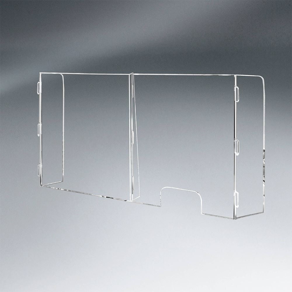 2 Panel Interlocking Counter Partition Safety Barrier With Pass-Through - 1/4
