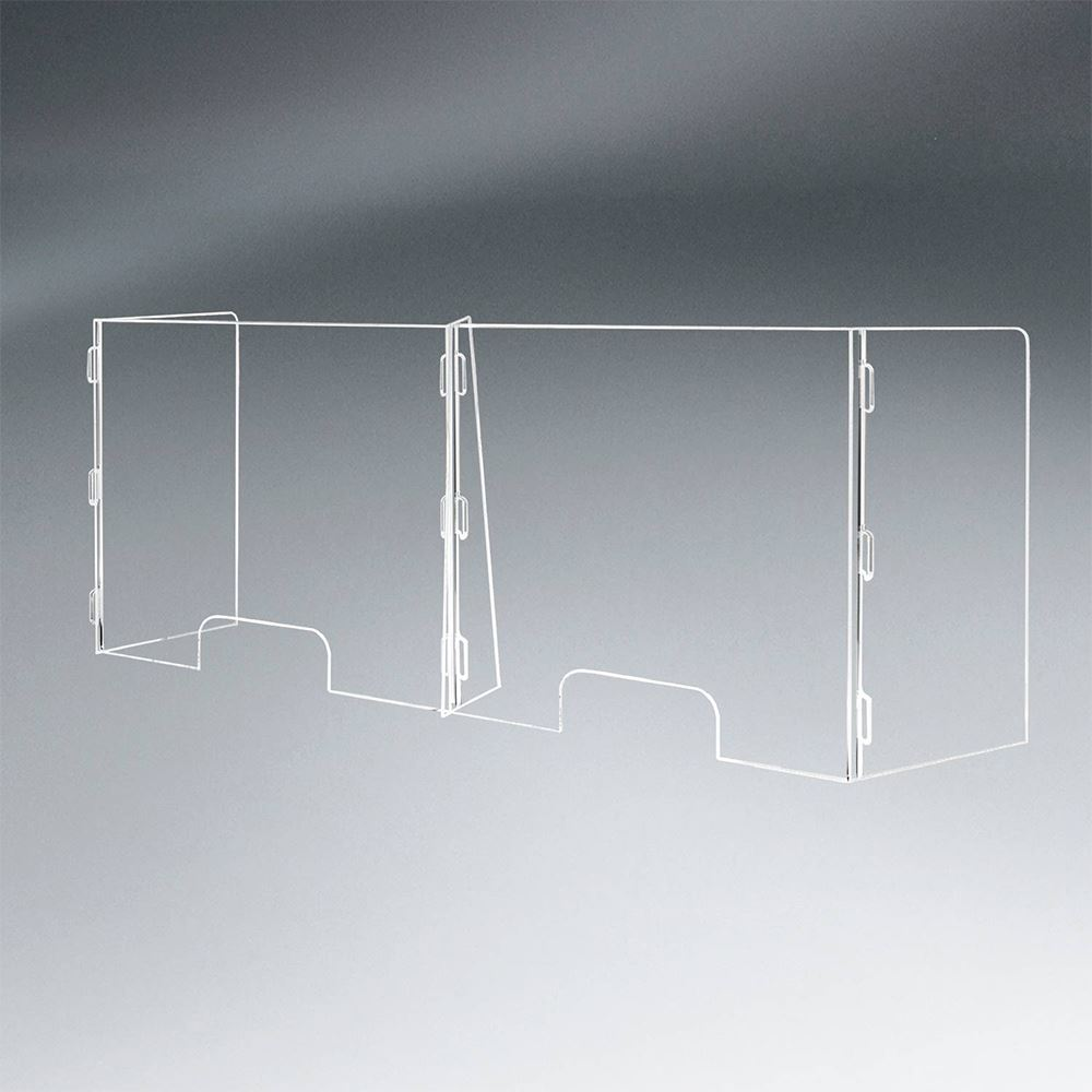 2 Panel Interlocking Counter Partition Safety Barrier With Two Pass-Throughs -�1/4