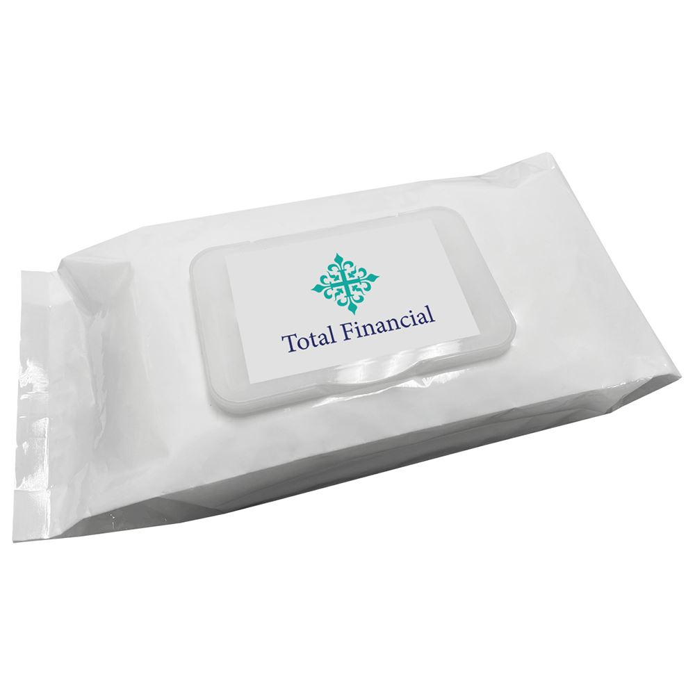 Antibacterial Wet Wipes - 50-Wipe Pack - Full Color Personalization Available