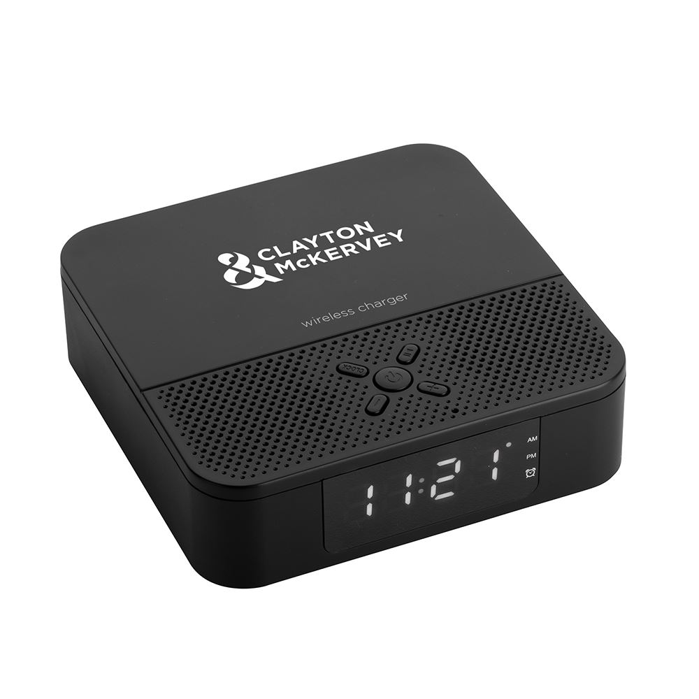 3-in-1 Wireless Charger & Bluetooth Speaker with Alarm - Personalization Available