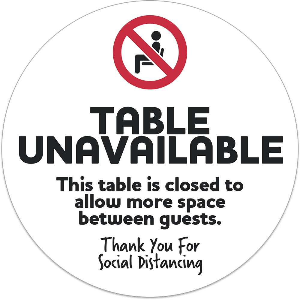 Table Unavailable Seat Sign