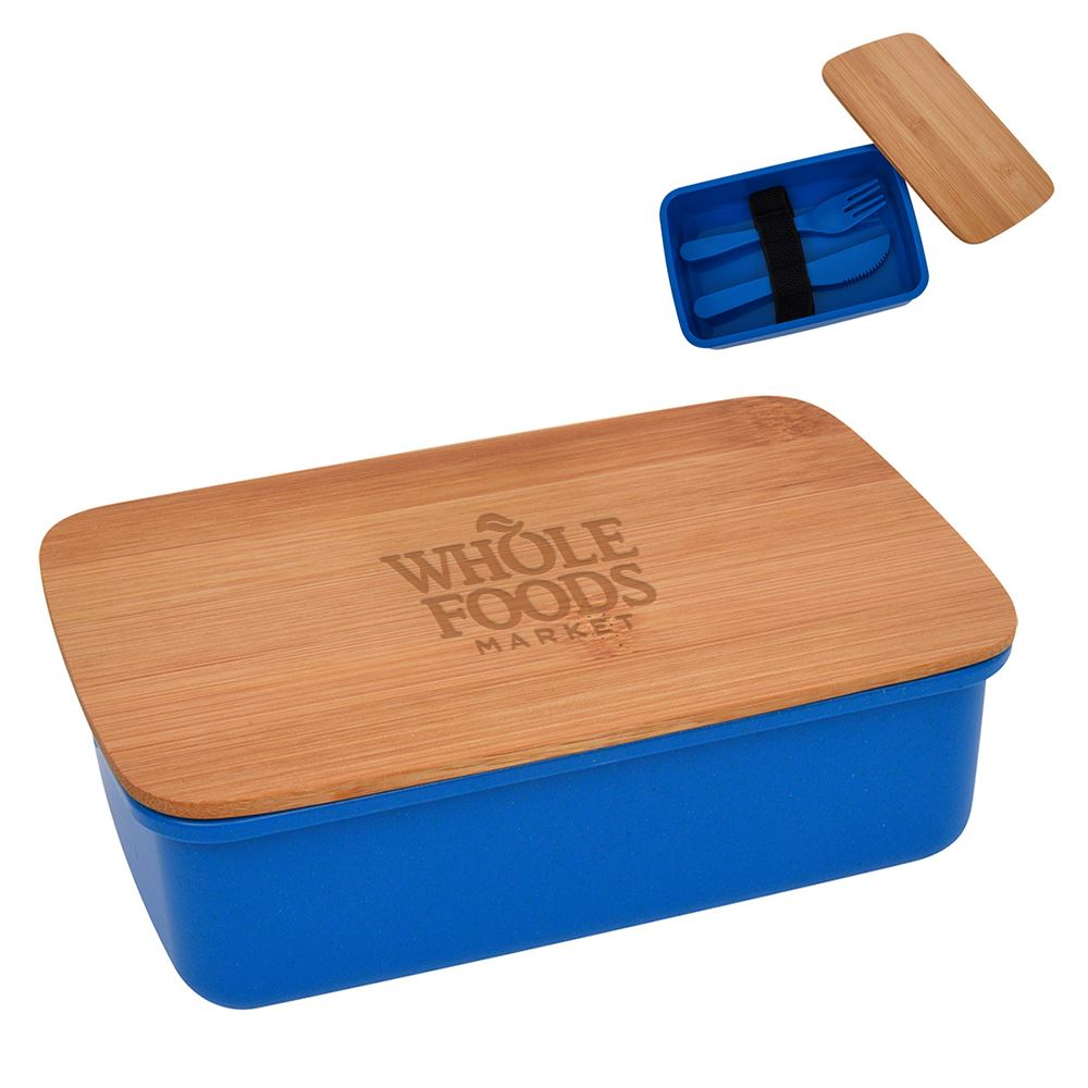 Bento Wheat Straw Lunch Set With Bamboo Lid