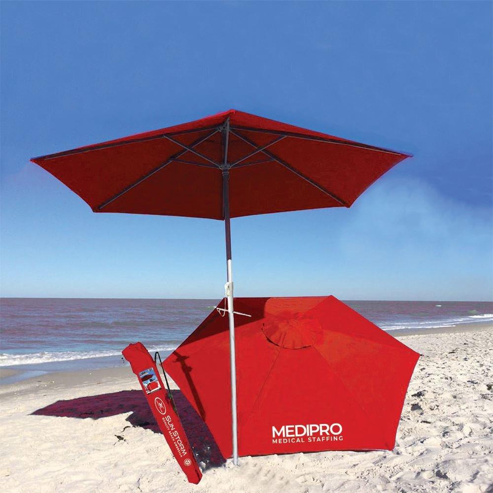 Sun Storm Beach Umbrella - Personalization Available