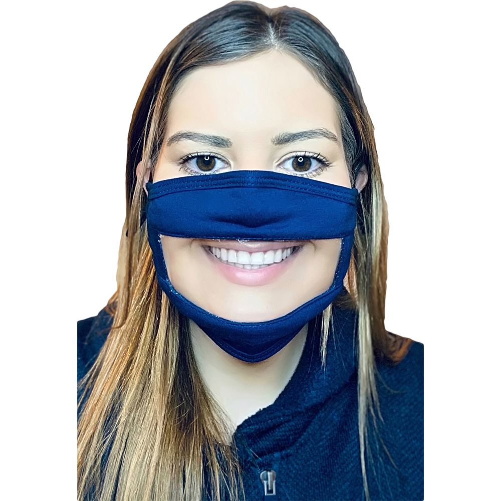 4-Ply 100% Cotton Face Mask With PET Anti-Fog Clear Window, Nose Bridge & Adjustable Ear Loops