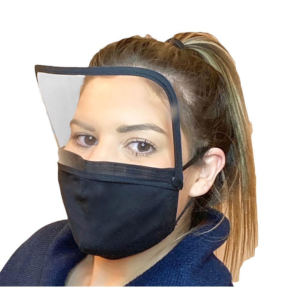 2-In-1 4-Ply 100% Cotton Face Mask With Removable Snap On/Off Face Shield