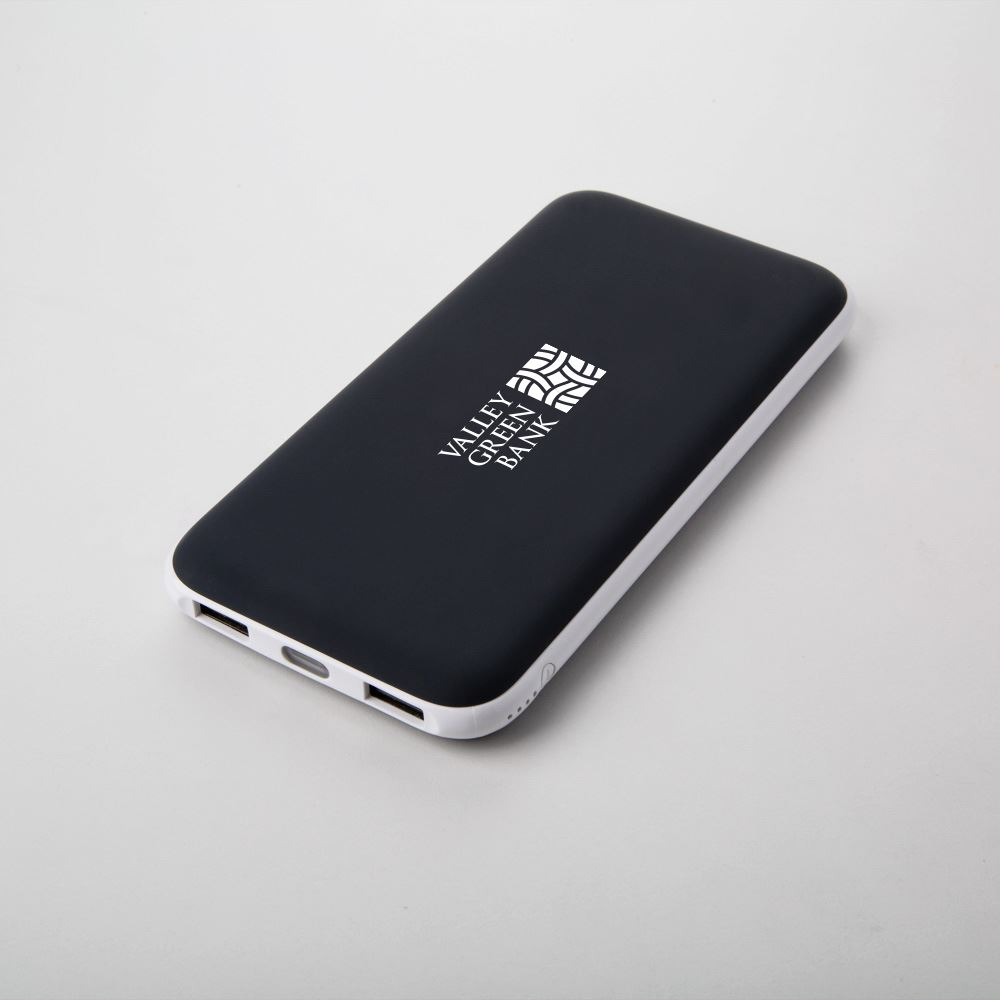 Soft Rubberized 10,000 mAh Dual USB Powerbank with LED Light - Personalization Available