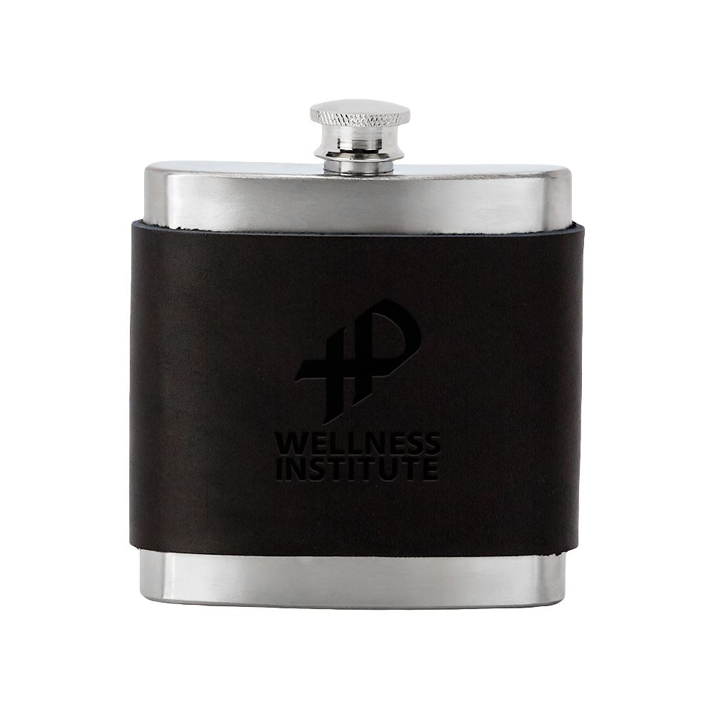 Brannigan Leather Wrapped Stainless Steel Flask - Personalization Available