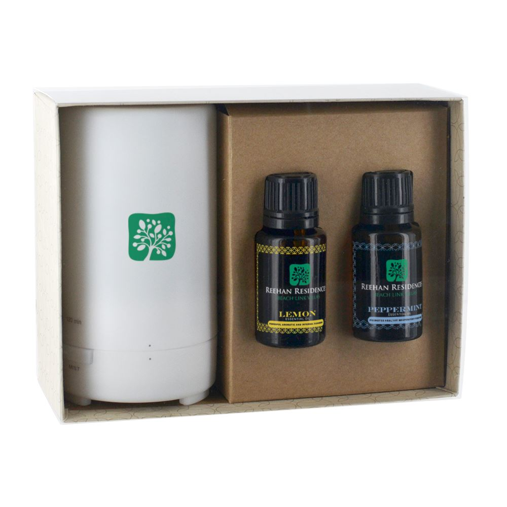 Electronic Diffuser and 2 Essential Oils; 15mL Dropper Bottles in Gift Box - Personalization Available