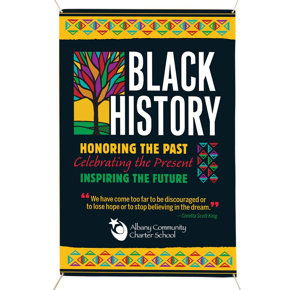 Black History: Honoring The Past, Celebrating The Present, Inspiring The Future 5' x 3' Vinyl Banner - Personalization Available