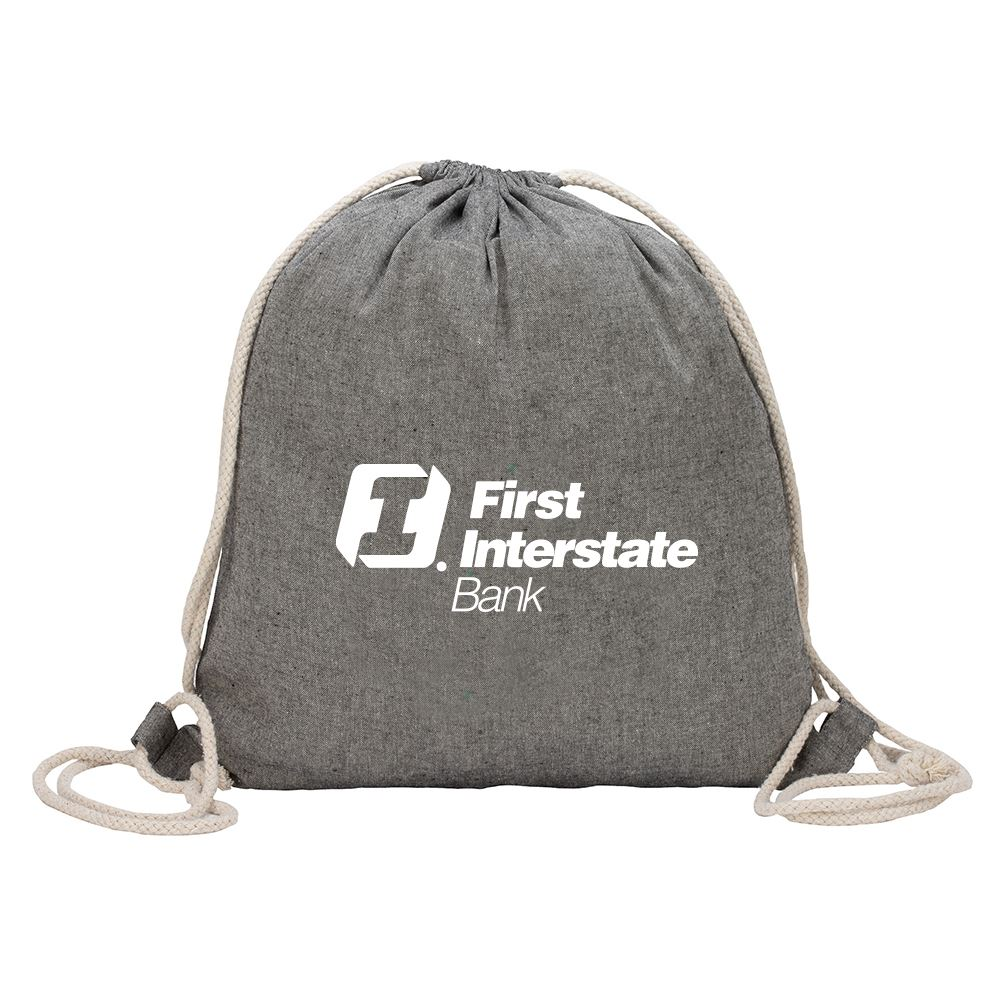 Huron Recycled Cotton Drawstring Tote-Personalization Available