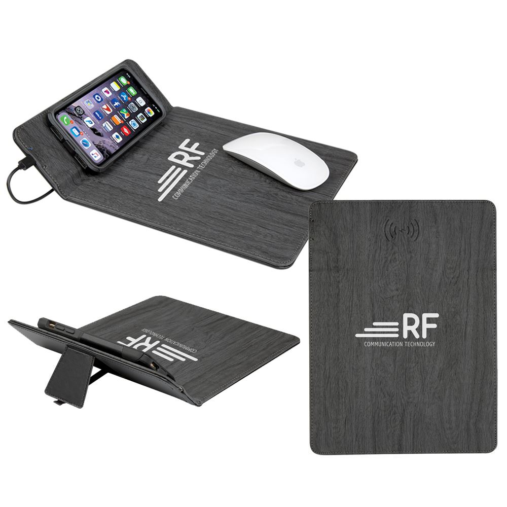 Woodgrain Wireless Charging Mouse Pad with Phone Stand-Personalization Available