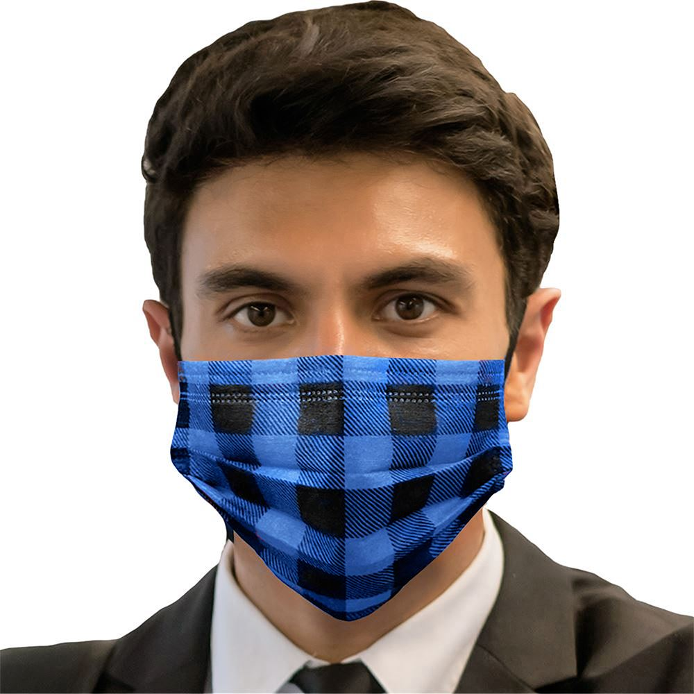 Disposable 3-Ply Blue Buffalo Plaid Face Mask- Adult