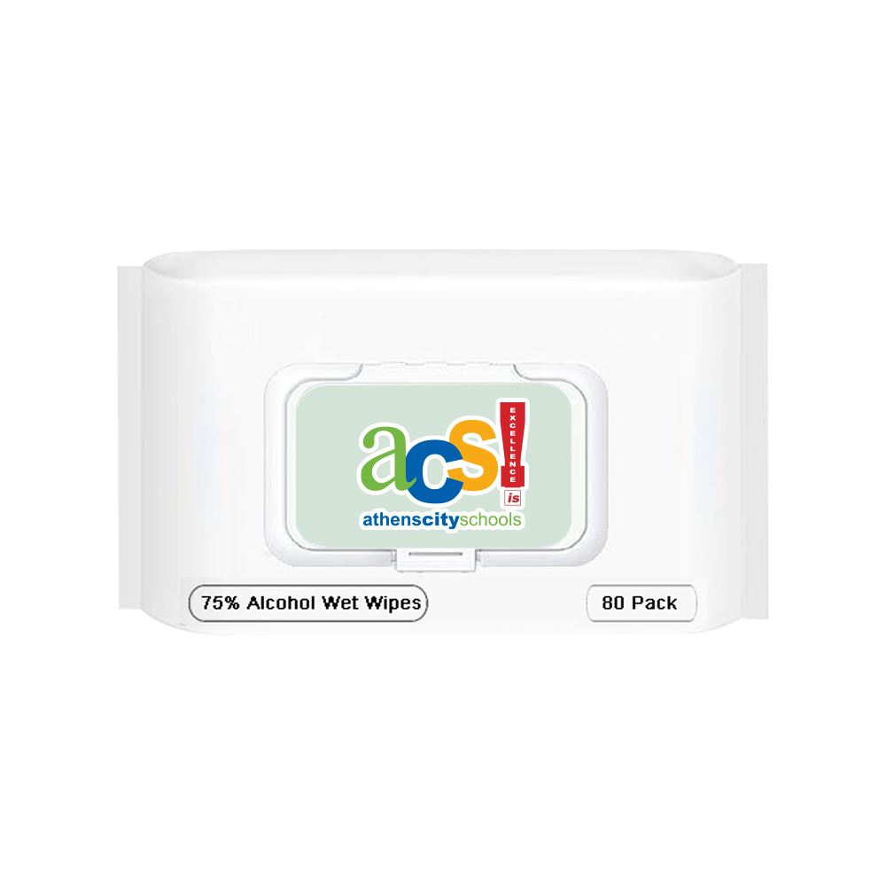 80 ct. Alcohol Antibacterial Wet Wipe Packet Full Color-Personalization Available