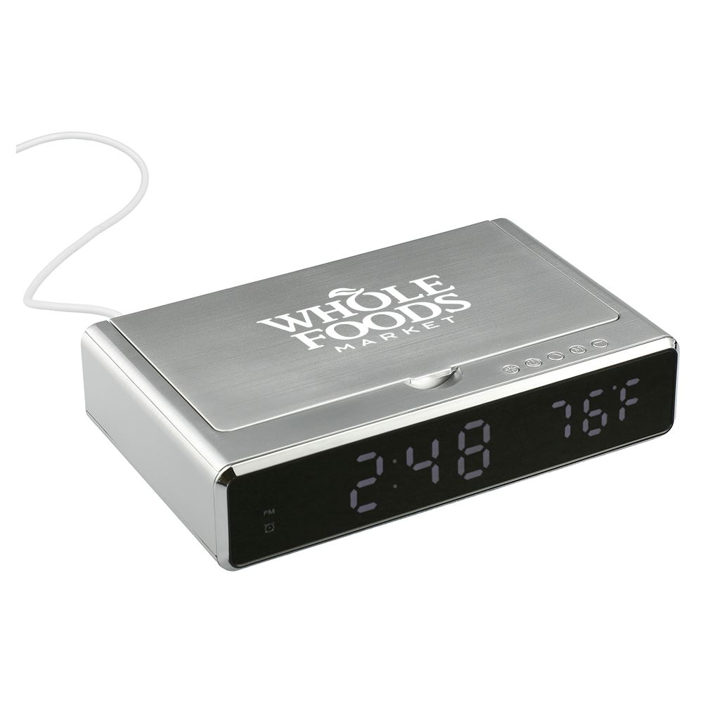 UV Phone Sanitizer Desk Clock with 5W Wireless Charging - Personalization Available