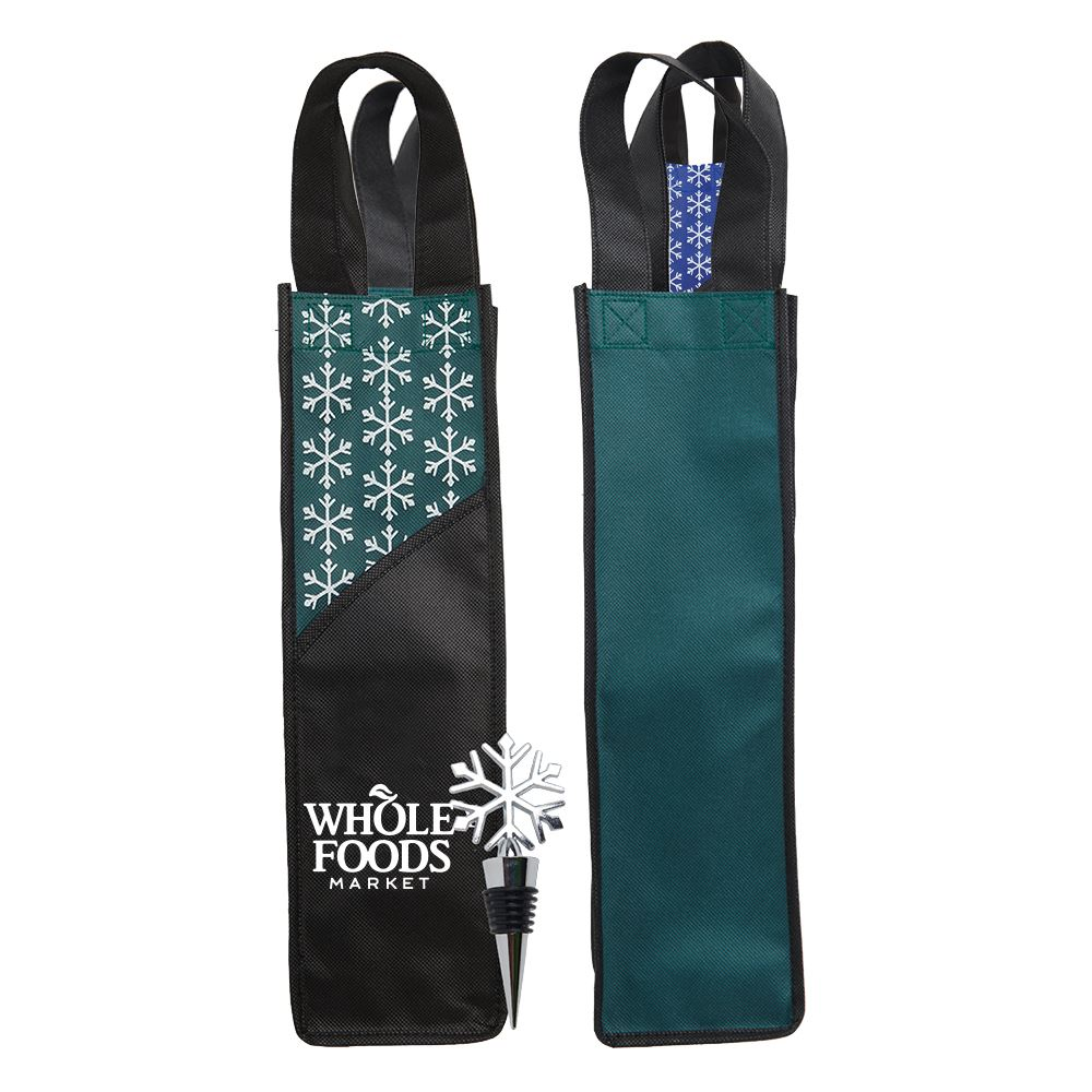 Snowflake Wine Stopper and Tote- Personalization Available