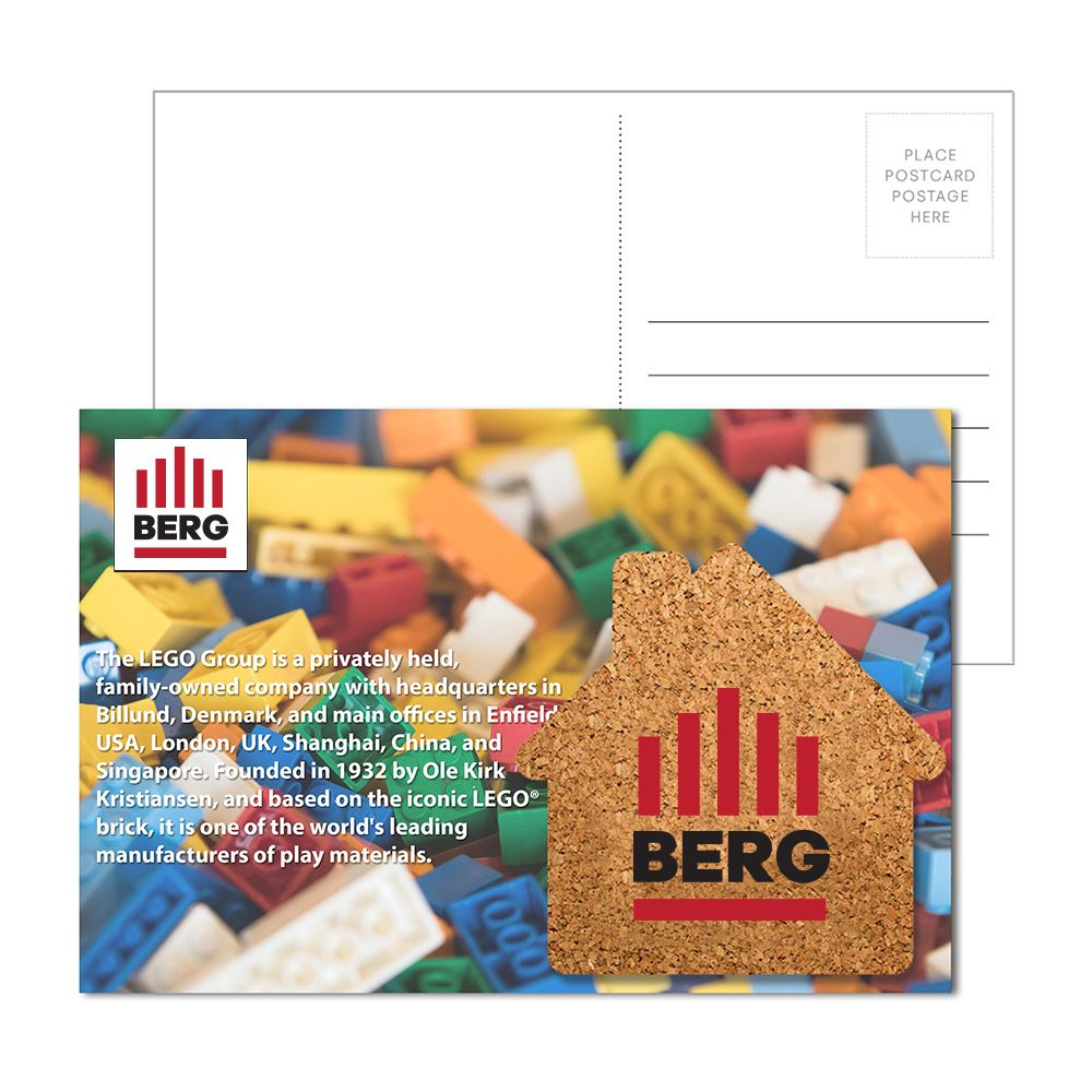 Post Card with House Shaped Cork Coaster - Personalization Available